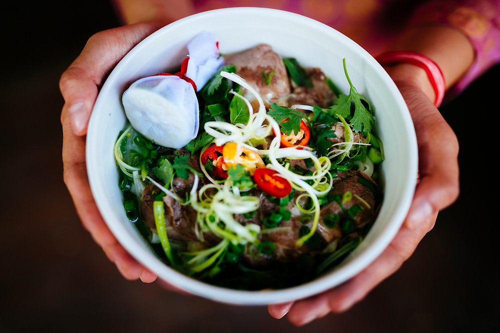 A bowl of beef pho in Hanoi, Vietnam.