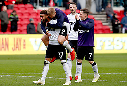 Derby County's Jayden Bogle, Martyn Waghorn, Scott Malone and Harry Wilson celebrate the results at the end of the match