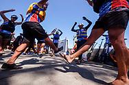新华社照片,洛杉矶,2017年7月31日<br />     (国际)(1)第二十一届加州长滩龙舟节<br />     7月30日,参赛选手在比赛前热身。<br />     在美国洛杉矶长滩市海滨体育场举行的第二十一届年度长滩龙舟节,吸引百余队上千选手参赛。长滩龙舟节是加州最大的龙舟比赛,同时也展示了中国古代龙舟赛的运动。<br />     新华社发(赵汉荣摄)<br /> Dragon Boat racers warm up before a 500-meter race at the 21st Annual Long Beach Dragon Boat Festival at Marine Stadium in Long Beach, California, the United States, on July 30, 2017. The Long Beach Dragon Boat Festival is held every year in July at Marine Stadium to hosting the largest dragon boat competitions in California. It showcases the ancient Chinese sport of dragon boat racing. (Xinhua/Zhao Hanrong)(Photo by Ringo Chiu)<br /> <br /> Usage Notes: This content is intended for editorial use only. For other uses, additional clearances may be required.