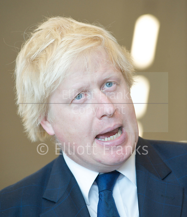 Boris Johnson <br /> The Mayor of London <br /> visits the Westfield Stratford Shopping development in Stratford, London, Great Britain <br /> 4th July 2011 <br /> Press Conference <br /> <br /> Boris Johnson <br /> with local apprentices<br /> plus some atmosphere pictures<br /> <br /> Photograph by Elliott Franks