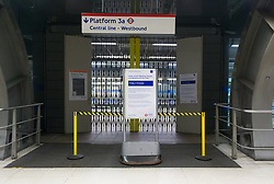 October 5, 2018 - London, London, United Kingdom - Central Line strike. ..View of one of the closed platforms´ access to the Central Line at Stratford Station this morning...Hundreds of thousands of commuters face travel chaos asa 24-hour strikeon two London Underground lines getsunder way. (Credit Image: © Gustavo Valiente/i-Images via ZUMA Press)