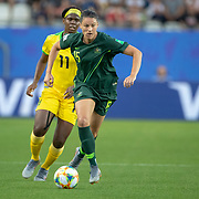 GRENOBLE, FRANCE June 18.  Emily Gielnik #15 of Australia defends by Khadija Shaw #11 of Jamaica during the Jamaica V Australia, Group C match at the FIFA Women's World Cup at Stade des Alpes on June 18th 2019 in Grenoble, France. (Photo by Tim Clayton/Corbis via Getty Images)