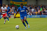 AFC Wimbledon attacker Michael Folivi (17) dribbling during the EFL Sky Bet League 1 match between AFC Wimbledon and Rotherham United at the Cherry Red Records Stadium, Kingston, England on 3 August 2019.