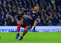 Arsenal's Pierre-Emerick Aubameyang reacts after he is dispossessed by Brighton's Shane Duffy