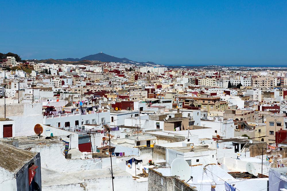TETOUAN, MOROCCO - 7th April 2016 - Landscape of sprawling architecture in the Tetouan Medina, Rif region of Northern Morocco.