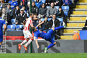Leicester City defender Robert Huth (6) attempts an over-head kick during the Premier League match between Leicester City and Stoke City at the King Power Stadium, Leicester, England on 1 April 2017. Photo by Jon Hobley.