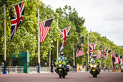 © Licensed to London News Pictures. 03/06/2019. London, UK. Police motorbikes on patrol along The Mall outside. Buckingham Palace ahead of the arrival of President of the United States Donald Trump. President Trump is in the UK for a three-day State Visit. Photo credit: Rob Pinney/LNP