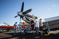RENO, NV - SEPTEMBER 13: A flight crew prepares a P-51D named Spam Can before the first heats of the day at the Reno Championship Air Races on September 13, 2017 in Reno, Nevada. (Photo by Jonathan Devich/Getty Images)