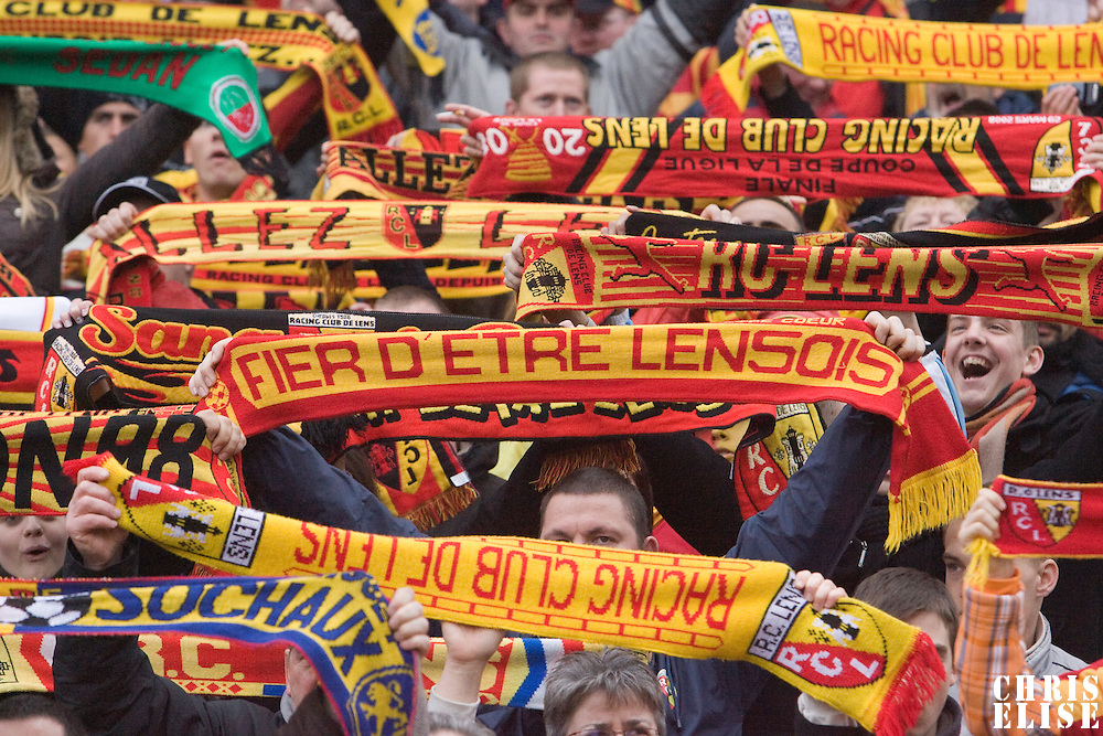 19 April 2008: Fans of Lens hold banners during the French League football  match against Sochaux, at Stade Bollaert, Lens, France.
