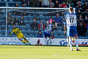6th October 2018, Dens Park, Dundee, Scotland; Ladbrokes Premiership football, Dundee versus Kilmarnock; Eamonn Brophy of Kilmarnock scores for 2-1 in the 53rd minute