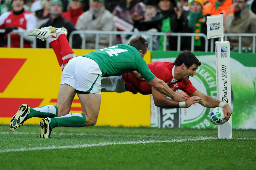 Mike Phillips scores during the Quarterfinal, Ireland v Wales at the IRB Rugby World Cup 2011. Wellington Regional Stadium, Wellington. Saturday 8 October 2011...Photo: Mark Tantrum/photosport.co.nz