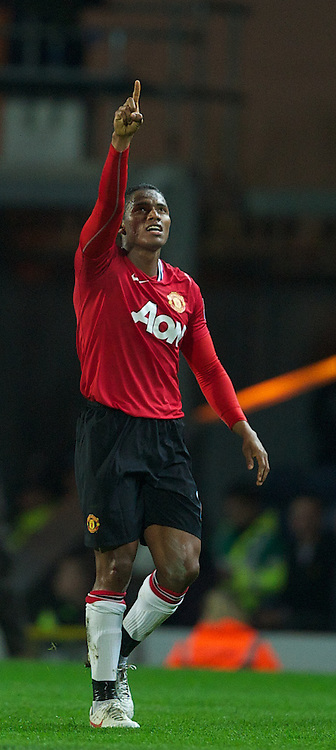BLACKBURN, ENGLAND - Monday, April 2, 2012: Manchester United's Antonio Valencia celebrates scoring the first goal against Blackburn Rovers during the Premiership match at Ewood Park. (Pic by David Rawcliffe/Propaganda)