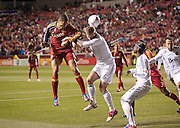 Real Salt Lake forward Alvaro Saborio goes for a header off a corner kick during the first half of the MLS match between Real Salt Lake and Vancouver Whitecaps FC at Rio Tinto Stadium, Saturday, Oct. 27, 2012.