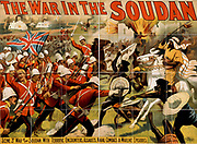The War in the Soudan', poster for a Barnum and Bailey circus production 'The Mahdi, or, For the Victoria Cross', 1897, showing British and Mahdist troops fighting. Anglo-Sudan War (Mahdist War) 1881-1899, Northeast Africa.