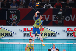 PARIS, FRANCE - SEPTEMBER 29: Klemen Cebulj #18 of Slovenia serves the ball during the EuroVolley 2019 Final match between Serbia and Slovenia at AccorHotels Arena on September 29, 2019 in Paris, France.  Photo by Catherine Steenkeste / Sipa / Sportida