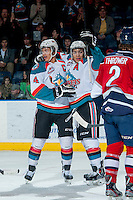 KELOWNA, CANADA -FEBRUARY 19: Tyrell Goulbourne #12 and Madison Bowey #4 of the Kelowna Rockets celelbrate a goal during first period against the Tri City Americans on February 19, 2014 at Prospera Place in Kelowna, British Columbia, Canada.   (Photo by Marissa Baecker/Getty Images)  *** Local Caption *** Madison Bowey; Tyrell Goulbourne;