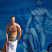 A swimmer dries off after training in preparation for the World Swimming Championships in Rome on Saturday, July 25, 2009. Photo Tim Clayton.