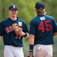 25 April 2010: Aaron Hornostaj of Rouen talks to Luc Piquet during game 1/week 3 of the French Elite season won 12-4 by Rouen over the PUC, at the Pershing Stadium in Vincennes, near Paris, France.