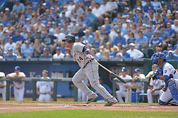 Sep 20, 2014; Kansas City, MO, USA; Detroit Tigers first baseman Miguel Cabrera (24) at bat in the first inning against the Kansas City Royals at Kauffman Stadium. Mandatory Credit: Denny Medley-USA TODAY Sports