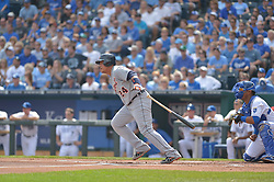 Sep 20, 2014; Kansas City, MO, USA; Detroit Tigers first baseman Miguel Cabrera (24) at bat in the first inning against the Kansas City Royals at Kauffman Stadium. Mandatory Credit: Denny Medley-USA TODAY Sports