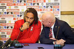 TIRANA, ALBANIA - Monday, November 19, 2018: Wales' captain Ashley Williams and head of public affairs Ian Gwyn Hughes during a press conference at the Tirana International Hotel ahead of the International Friendly match between Albania and Wales. (Pic by David Rawcliffe/Propaganda)