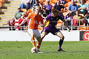 Mark Cullen and Will Boyle during the EFL Sky Bet League 2 match between Blackpool and Cheltenham Town at Bloomfield Road, Blackpool, England on 22 April 2017. Photo by Antony Thompson.