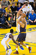Golden State Warriors center Zaza Pachulia (27) defends Cleveland Cavaliers forward Richard Jefferson (24) during Game 1 of the NBA Finals at Oracle Arena in Oakland, Calif., on June 1, 2017. (Stan Olszewski/Special to S.F. Examiner)
