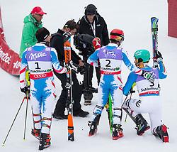 17.02.2013, Planai, Schladming, AUT, FIS Weltmeisterschaften Ski Alpin, Slalom, Herren, 2. Durchgang, im Bild Mario Matt (AUT, 3. Platz) , Marcel Hirscher (AUT, 2. Platz), Felix Neureuther (GER, 1. Platz) // 3th place Mario Matt of Austria, 1st place Marcel Hirscher of Austria and 2nd place Felix Neureuther of Germany reacts after his 2nd run of the mens Slalom at the FIS Ski World Championships 2013 at the Planai Course, Schladming, Austria on 2013/02/17. EXPA Pictures © 2013, PhotoCredit: EXPA/ Johann Groder