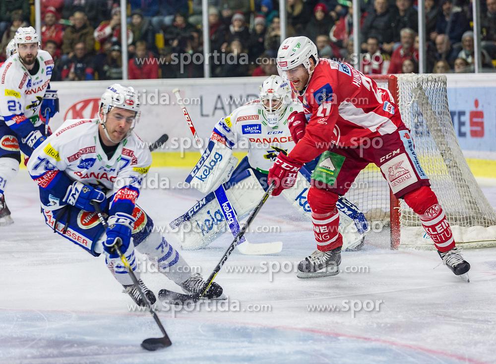 28.12.2018, Stadthalle, Klagenfurt, AUT, EBEL, EC KAC vs EC VSV, 32. Runde, im Bild Blaine Down (EC Panaceo VSV, #79), Matt Pelech (EC Panaceo VSV, #21), Dan Bakala (EC Panaceo VSV, #39), Thomas HUNDERTPFUND (EC KAC, #27) // during the Erste Bank Eishockey League 32th round match between EC KAC and EC VSV at the Stadthalle in Klagenfurt, Austria on 2018/12/28. EXPA Pictures © 2018, PhotoCredit: EXPA/ Gert Steinthaler