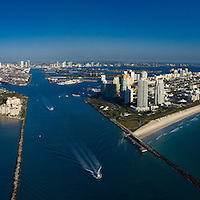Aerial of Miami Beach, South Point Park, Fisher Island and the port of Miami, at the entrance to  Government Cut.