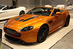 12 February 2015: Aston Martin V12 Vantage S Roadster.<br /> <br /> First staged in 1901, the Chicago Auto Show is the largest auto show in North America and has been held more times than any other auto exposition on the continent. The 2015 show marks the 107th edition of the Chicago Auto Show. It has been  presented by the Chicago Automobile Trade Association (CATA) since 1935.  It is held at McCormick Place, Chicago Illinois