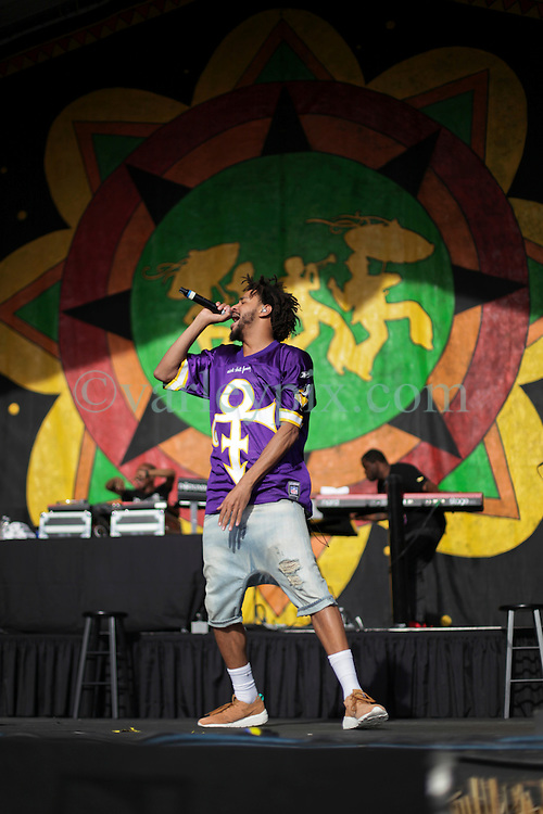 24 April 2016. New Orleans, Louisiana.<br /> The New Orleans Jazz and Heritage Festival. <br /> Rapper and Hip Hop artist J Cole (Jermaine Lamarr Cole) plays the Congo Square stage.<br /> Photo; Charlie Varley/varleypix.com