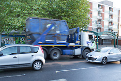 © Licensed to London News Pictures. 19/10/2016. Bell Green, Coventry UK. A seven year old girl has been killed by a truck on Henley Lane, Bell Green, Coventry. Pictured, A truck passes the scene where the young girl was killed. Photo credit: Dave Warren/LNP
