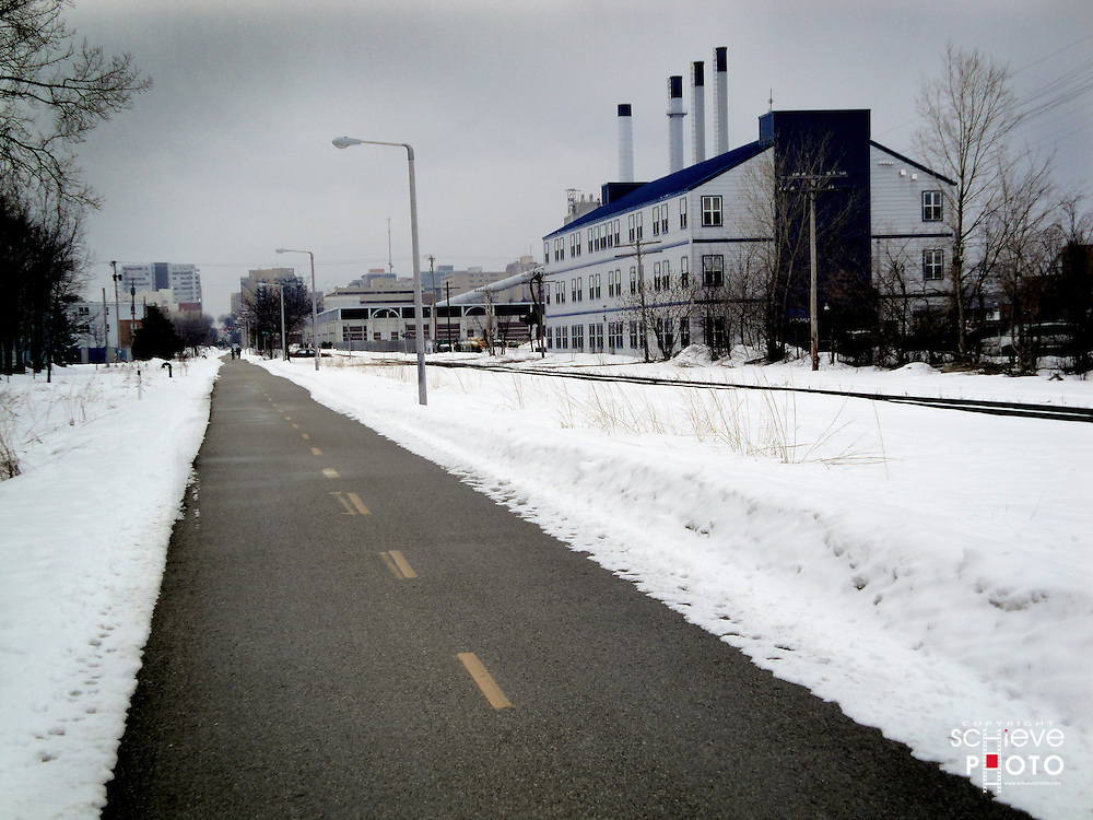 Grey winter day on a Madison, Wisconsin bike path.