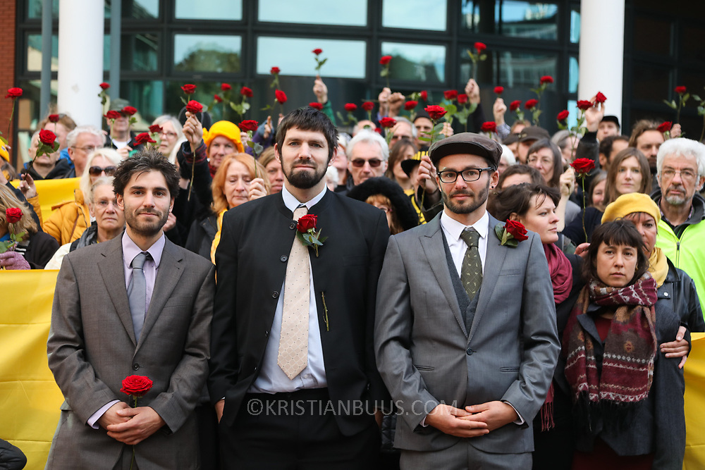 Outside Preston Crown Court, shotly before sentencing of the Frack Free Four. Simon Roscoe Blevins, 26,  Richard Loizou, 31, Richard Roberts, 36 and Julian Brock, 47During a mass protest by locals and supporters in July 2017 which spontaneously brought a truck convoy bound for Preston New Road to a halt, the four climbed onto lorry cabs and stopped truck movement for four days.<br /> <br /> Supportive locals aided the action by throwing up blankets, food and water to keep the protestors in place and prevent trucks from entering the drilling site. After a seven day jury trial at Preston Crown Court in August 2018, the four men were found guilty of Public Nuisance. Judge Altham has told them to expect &ldquo;immediate custodial sentences&rdquo; on 25th September 2018.