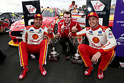 Scott McLaughlin (Shell DJR Penske Ford) with 2nd place finisher Fabian Coulthard and team boss Ryan Storey. Winton Truck Assist SuperSprint -2019 Virgin Australia Supercars Championship Round 6. Winton Motor Raceway, Victoria on Sunday 26 May 2019. Photo Clay Cross / photosport.nz
