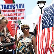 Avi Yemini and Debbie Robinson, Australian Liberty Alliance rally to Welcoming Trump to London Rally - Make Britain Great Again outside US Embassy, London, UK. July 14 2018.