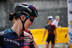Kasia Niewiadoma (POL) makes her way to sign on at Giro Rosa 2018 - Stage 9, a 104.7 km road race from Tricesimo to Monte Zoncolan, Italy on July 14, 2018. Photo by Sean Robinson/velofocus.com