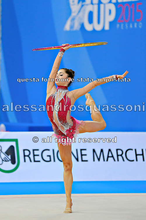 Filanovsky Victoria during qualifying at hoop in Pesaro World Cup 10 April 2015.<br /> Victoria was born in St. Petersburg in Russia 23 February 1995. In 2008 she joined the Israeli national team of rhythmic gymnastics.