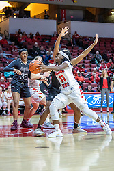 NORMAL, IL - February 27: Tete Maggett gets forearmed on her way to the hoop during a college women's basketball game between the ISU Redbirds and the Bears of Missouri State February 27 2020 at Redbird Arena in Normal, IL. (Photo by Alan Look)