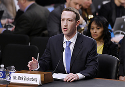 Facebook CEO Mark Zuckerberg testifies before the Senate judiciary and commerce committees on Capitol Hill over social media data breach, on April 10, 2018 in Washington, DC. Photo by Olivier Douliery/ Abaca