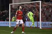 Nottingham Forest midfielder Henri Lansbury (10)  misses the target during the Sky Bet Championship match between Nottingham Forest and Brighton and Hove Albion at the City Ground, Nottingham, England on 11 April 2016. Photo by Simon Davies.