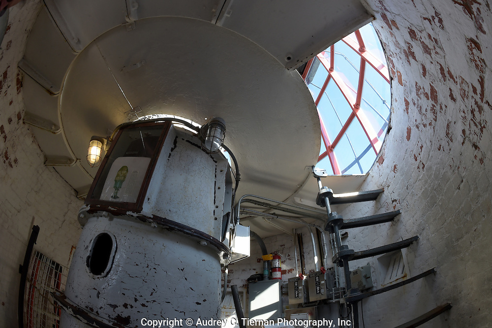 Babylon, NY,  October 25, 2016: ---The view climbing up the spiral staircase just as you reach the lens gallery at the Fire Island Lighthouse.                 © Audrey C. Tiernan