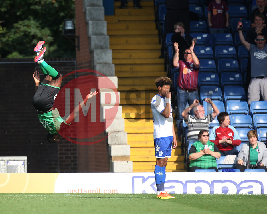 Hakeeb Adelakun of Scunthorpe United (L) celebrates before his goal is awarded as offside - Mandatory by-line: Jack Phillips/JMP - 02/09/2017 - FOOTBALL - Gigg Lane - Bury, England - Bury v Scunthorpe United - English Football League One
