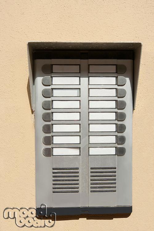 Close-up of audio door entry panel; Prague; Czech Republic