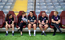 ASTANA, KAZAKHSTAN - Sunday, September 17, 2017: Wales' Lauren Smith, Amanda Smith, Bethan Lloyd, Jon Horton and manager Jayne Ludlow before the FIFA Women's World Cup 2019 Qualifying Round Group 1 match between Kazakhstan and Wales at the Astana Arena. (Pic by David Rawcliffe/Propaganda)