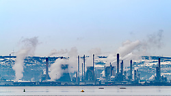 View of INEOS Grangemouth oil refinery from across the River Forth in Scotland, United Kingdom.
