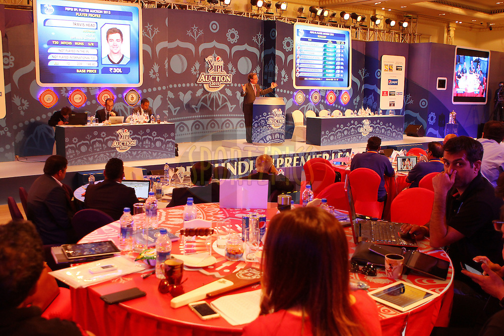 GV during the IPL Auction prior to season 8 of the Indian Premier League held at the ITC Gardenia Hotel in Bengaluru, Karnataka, India on the 16th February 2015<br /> <br /> Photo by Ron Gaunt / SPORTZPICS / IPL