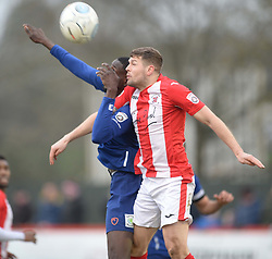 BARROWS MOUSSA DIARRA BATTLES WITH BRACKLEYS ANDY BROWN, Brackley Town FC v Barrow AFC, Buildbase FA Trophy Saturday 13th January 2018, SCORE 0-0, Photo:Mike Capps/Kappa Sport Pictures