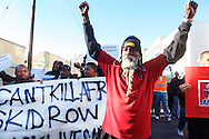 Protest march for fatal police shooting of an unarmed homeless man on Skid Row